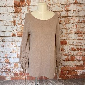 Easel pink ruched sleeve oversized sweater small m